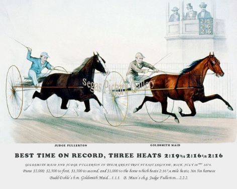Fine art Horseracing Print of the 1800's Racing and Trotting of Goldsmith Maid and Judge Fullerton in their Great Trot at East Saginaw, Mich, July 16th 1874.